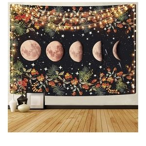 NEW Boho Moon Phase Floral Tapestry